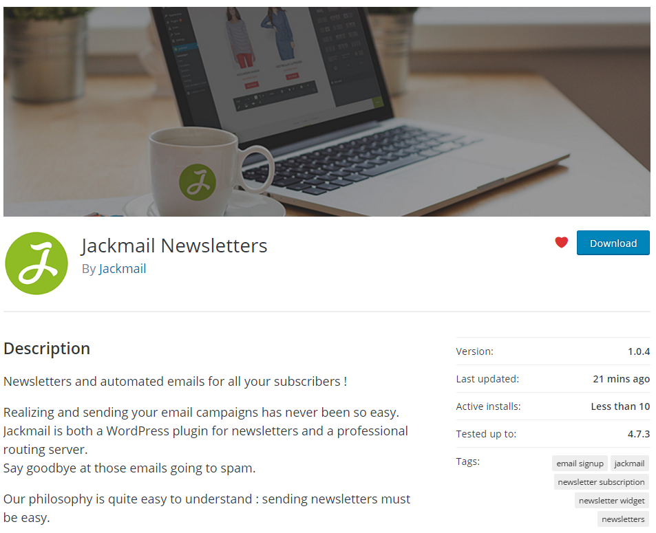 Jackmail newsletter plugin is on the WordPress repository