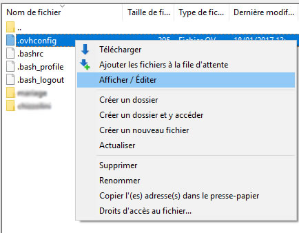 Editer OVH config