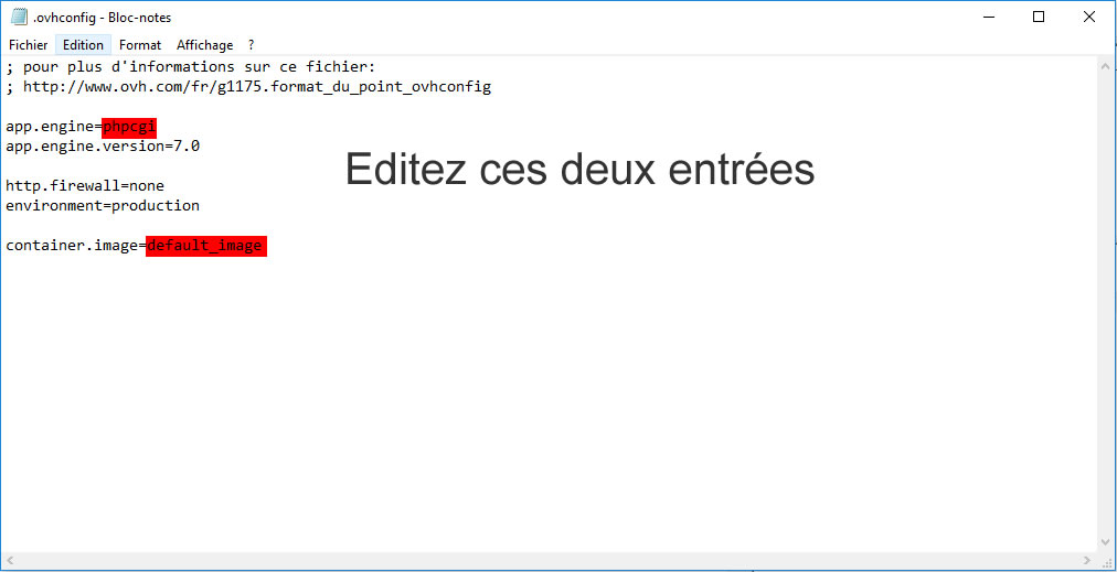 Editer fichier ovh.config
