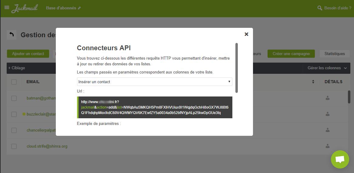 Popin connecteurs API