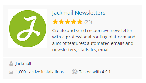 1000 active installations for Jackmail!