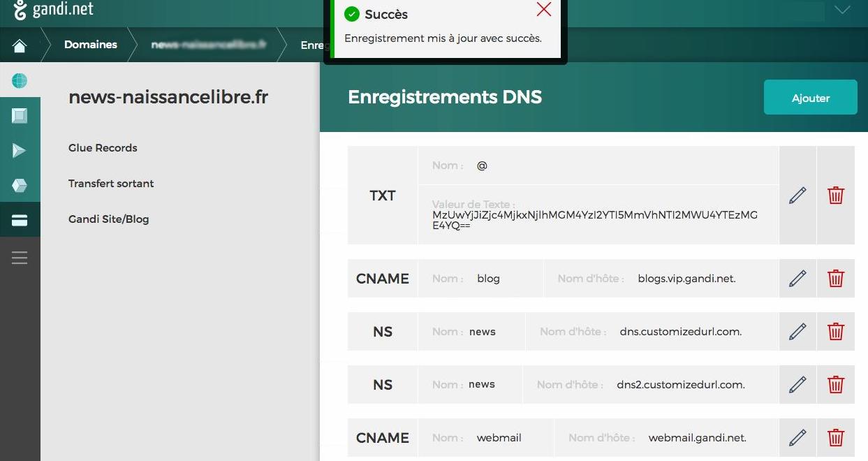 Enregistrements DNS succès